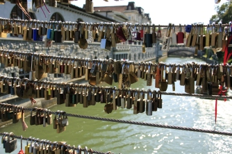 Key chains on a bridge